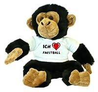 Schimpanse Plüschtier mit einem T-shirt mit Aufschrift Ich Liebe Faustball...