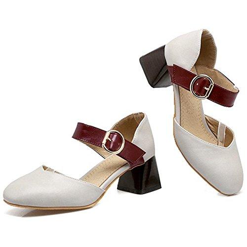 TAOFFEN Women's Ankle Strap Court Shoes Heels Gray aJhQj