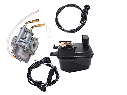 Annpee Carburetor With Air Filter Cleaner Box Assembly Throttle Gas Cable And Choke Cable for Yamaha PW50 PW 50 Yzinger 1981-2016 Motorcycle Carb