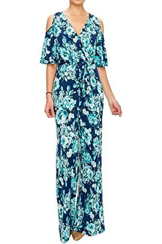 Bon Rosy Women's MadeInUSA V-Neck Printed Floral Faux Wrap Wide Leg Jumpsuit w/Cold-Shoulder Turquoise Navy M