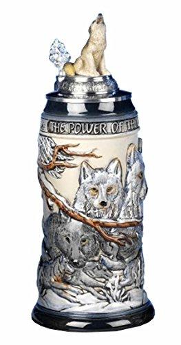 German Beer Stein the power of the Wolf Pack Relief Stein 0.5 liter tankard, beer mug KI 955-RUW 0,5L by ISDD Cuckoo Clocks