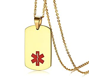 Mealguet Jewelry Stainless Steel Medical ID Dog Tag Necklace with Chain -Free Custom Engraving,Diabetic,Asthma