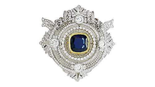 Adastra Jewelry 925 Sterling Silver brooch pin cushion blue lab created AAAAA grade cz white yellow gold plated filigree art deco ()