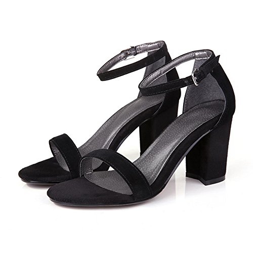 BalaMasa Womens Sandals Peep-Toe No-Closure Ankle-Wrap High-Heel Cold Lining Rubber Rubber Light-Weight Urethane Urethane Sandals ASL04535 Black 3BYYMS