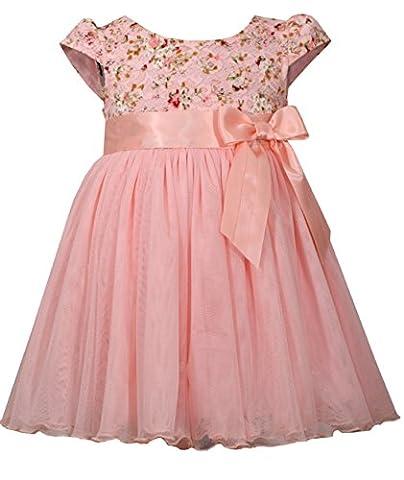 Bonnie Jean Girls Pink Lace Flower Ballerina Dress (18 months) - Girls Pink Floral Denim