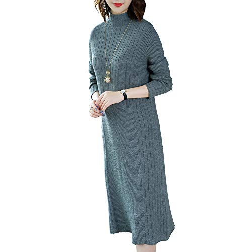 In Shirloy Da Lungo Lunga High A Gonna Collar Maglione Slim Manica Donna Knit Grigio Loose Dress wwvq1H