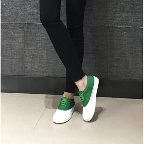 in ZHZNVX chiusa Scarpe Sneakers Tacco Primavera Azzurro donna Nappa Punta Rosa pelle piatto Verde Comfort Red da Estate wIUOdxw