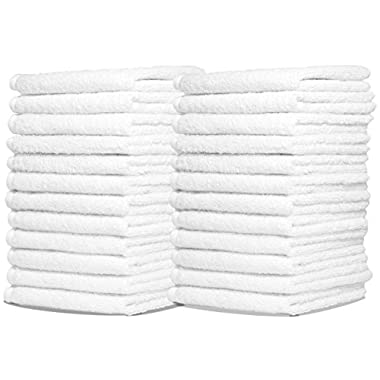 Wash Cloth Towels by Royal, 24-Pack, 100% Natural Cotton, 12 x 12, Commercial Grade, Appropriate for use in Bathroom, Kitchen, Nursery and for Cleaning, Soft and Absorbent, Machine Washable, White
