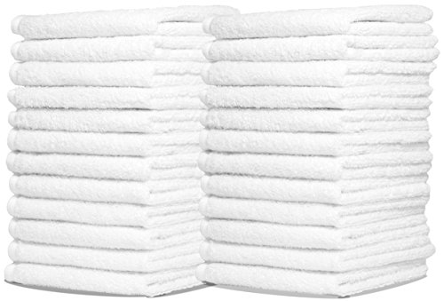 Royal Zeppoli Auto Shop & Car Wash Towels - 36 Pack - 100% Pure White Cotton - 14 x 17 Commercial Grade and Absorbent - Can be Used for Drying, Home Cleaning, or Bathroom Wash Cloths ()