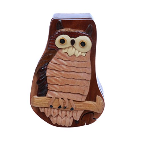 Handcrafted Wooden Owl/Bird Shape Secret Jewelry Puzzle Box - Owl