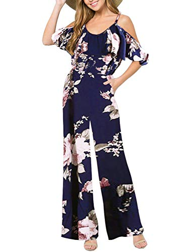 Luyeess Women's Casual Elegant Floral Print Navy Blue Strap Strappy Ladies Ruffled Tall New Wide Leg One-Piece Jumpsuit Long Pant Romper, Size S(US 4-6) ()