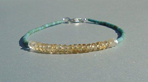 Citrine Bracelet, Turquoise Bracelet, Gemstone Bracelet, Dainty Bracelet 3.5 (Faceted Cut Stone Pear)