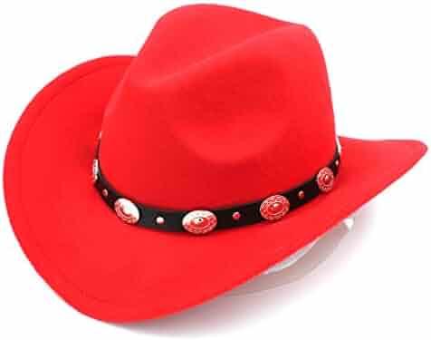 095f0da34d0a4 Elee Womem Men Wool Blend Western Cowboy Hat Wide Brim Cowgirl Jazz Cap  Leather Band
