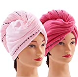Bleaching Hair Everyday - Microfiber Hair Towel Wrap Turban Drying Towel with Buttons, Quick Magic Dry Hair Hat Towel Bath Shower Head Towel - Super Absorbent, Anti-Frizz - (2 Pack, Pink + Red)