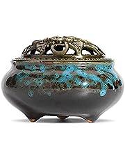 Ceramic Incense Burner 3 in 1 Stick Incense Cone Coil Incense Holder with Brass lid for Home Decor Yoga Spa Meditation