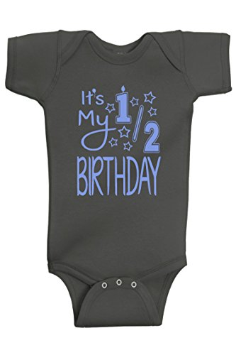 Charcoal Suit Blue Shirt (Reaxion Aiden's Corner - It's My Half Birthday 1/2 Baby Boy Bodysuit (12 Months, Lt Blue_Charcoal))