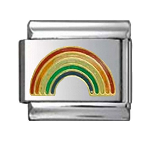 RAINBOW SUNSHINE HAPPINESS LOVE Enamel Italian Charm 9mm - 1 x NC016 Single Bracelet - Charm Traditional Italian