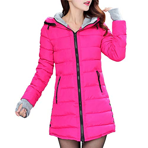 Toimoth Women Thicker Zipper Hooded Coat Long Sleeve Cotton-Padded Jackets Outerwear Gloves Pocket(Hot Pink,M)