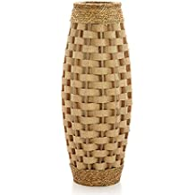 "Hosley's 24"" High Wood and Grass Floor Vase. Ideal Gift for Weddings, Home Decor, Long dried Floral, Spa, Aromatherapy, Umbrella / Cane Stand P9"