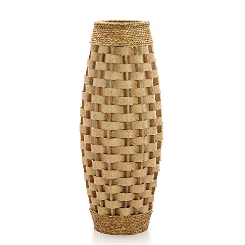Hosley's 24'' High Wood and Grass Floor Vase. Ideal Gift for Weddings, Home Decor, Long dried Floral, Spa, Aromatherapy, Umbrella / Cane Stand O6 by HOSLEY