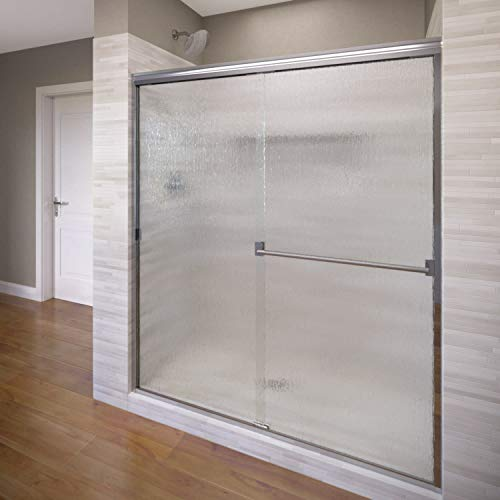 Basco Classic Sliding Shower Door, Fits 44-47 inch opening, Rain Glass, Silver Finish