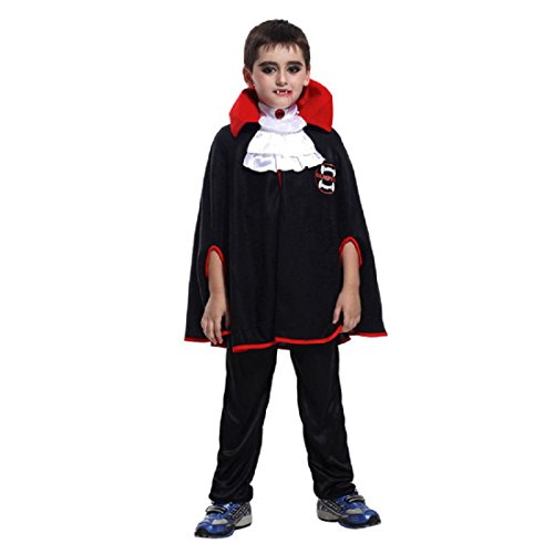 Merrysky Kids Boys Party Role Play Dress Up Cosplay Halloween Vampire Costume Tag S Height 90-110cm (Modern Vampire Costumes)