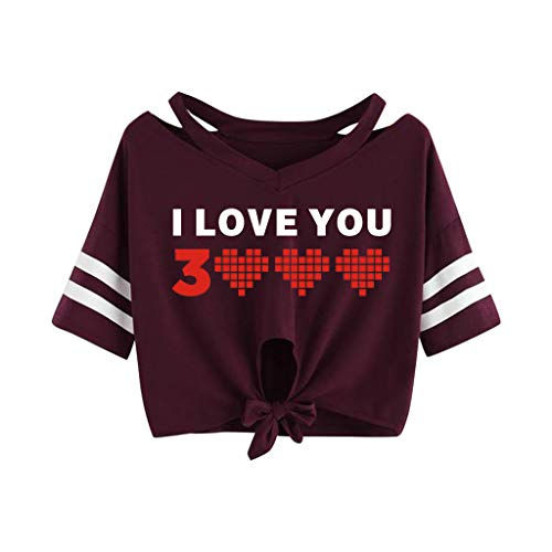 Women's Crop Top Shirts Summer Short Sleeve Cut Out T-Shirt Tie Front Tee Tops Blouse (Red - I Love You 3000 Times, - Tea Top Shirt Garden