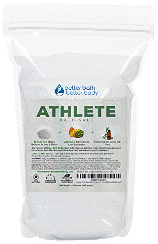 Athlete Bath Salt 32oz (2-Lbs) - Epsom Salt Bath Soak With Pine & Eucalyptus Essential Oil Plus Vitamin C - All Natural No Perfumes No Dyes - Post Workout Soak For Tired Sore Muscles