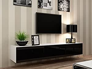 """Concept Muebles Seattle TV Stand 180 – TV cabinet with High Gloss fronts - Hanging TV console for up to 80"""" TVs (White & Black)"""