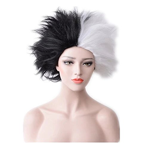 COSPLAZA Cosplay Wig Short Black White Fluffy Halloween Vile Women Synthetic Costume Party -
