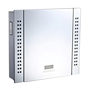 """HomCom 25"""" x 23"""" Wall Mounted LED Lit Bathroom Mirror Cabinet with Bluetooth Speaker, Shaver Socket Outlet and LCD Display"""