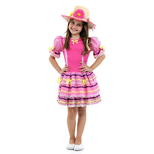 Fantasia Caipira Luxo Rosa Infantil 39165-m Sulamericana Fantasias Rosa M 6/8