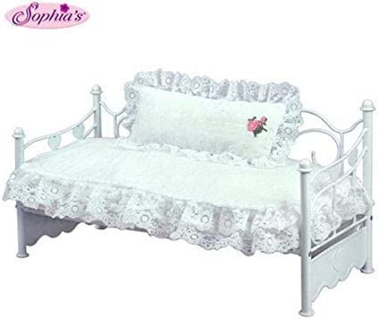 Light Pink Eyelet Bedding Set for 18 in Doll Beds Sophia/'s Pink Bedding Set with Doll Pillow Comforter and Mattress Pad
