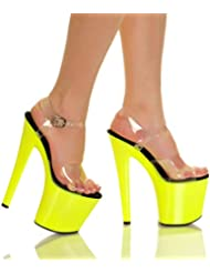 The Highest Heel Womens GLOW-161 UV Reactive Yellow Neon Bottom Platform Sandal 11 B(M) US