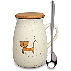 Coffee Mug Cute Ceramic Creative Cat Mug Funny Tea Cup with Wooden Lid and Spoon Novelty Coffee Mugs-Perfect Gift for Mom/ friends/girlfriends/Cat Lovers. (CAT-2)