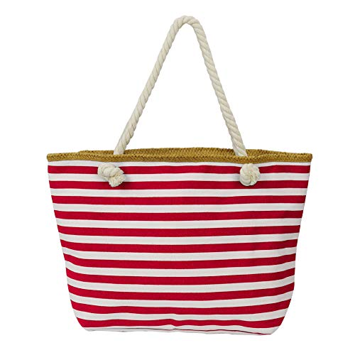 Large Beach Tote Bag Women Canvas Shoulder Bag-Top Zipper Closure Braided Rope Handles Waterproof Inner Pocket for Summer Vacation, Shopping, Pool Visiting (Handle Bag Braided Tote)