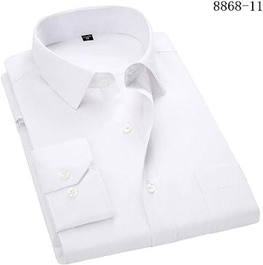 POMU 4XL 5XL 6XL 7XL 8XL camisa de vestir para hombre de negocios casual larga camisa blanca azul negro 8868-11 Blanco etiqueta 40: Amazon.es: Ropa y accesorios