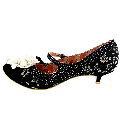 Womens Irregular Choice Daisy DayZ Mary Jane Court Shoe Kitten Heels Off White vzfB843