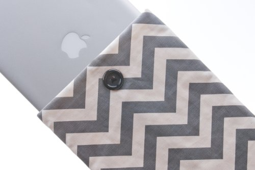 Kuzy 13-inch GRAY Chevron Cotton Sleeve Handmade Cover for MacBook Pro 13-Inch and MacBook Air 13-Inch - Gray 13.3-inch ()