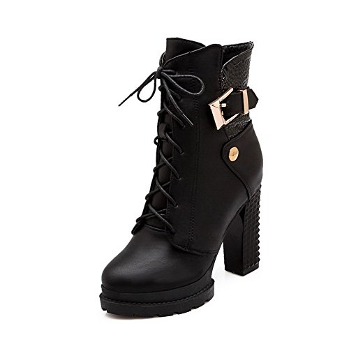 Heels Bandage Leather Black Buckle Womens Chunky Imitated 1TO9 Boots wqIv5n