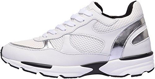 Paperplans-1319 Femmes Mode Classique En Cuir Chaussures De Sport Haut Blanc