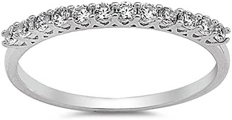 Sterling Silver Micro Pave Round Cubic Zirconia Band Ring Sizes 5-10