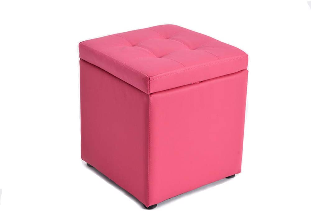 Visual Taste Tufted Leather Square flip top Storage Ottoman Cube Foot Rest for Living Room Bedroom The Door ???-Rose Red 303035CM
