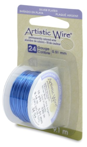 Artistic Wire 24-Gauge Silver Plated Silver Blue Wire, 10-Yards