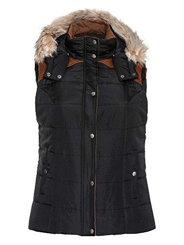 sheego Casual Damen Steppweste Fake Fur schwarz 50/5XL