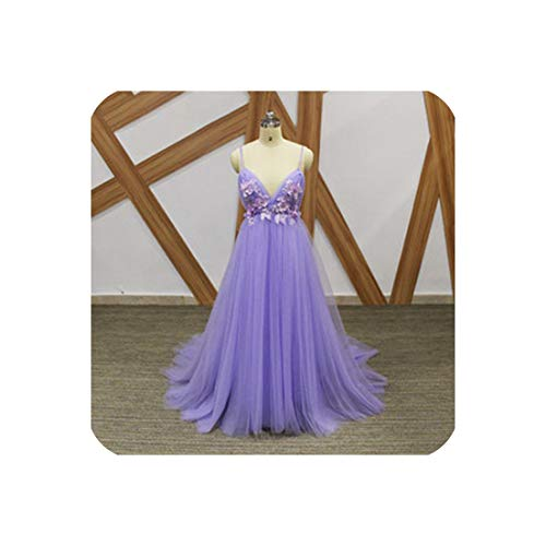 Sexy Tulle Long Evening Dress Arrival Backless Court Train Flowers,Purple,12