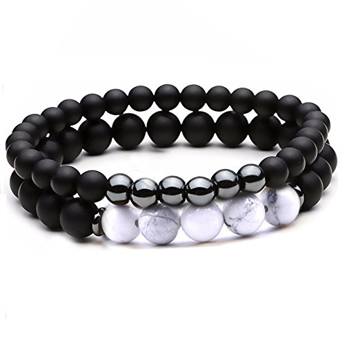 (Dolovely 8mm Natural Howlite Stone Beads Bracelet for Men Women Black Matte Onyx Elastic Stretch Bracelet)