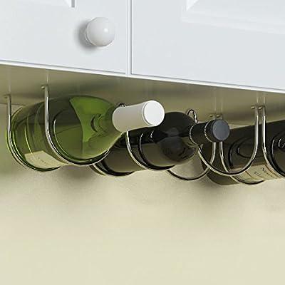 Under Cabinet Wine Rack and Liquor Bottle Holder Chrome Finish Kitchen Countertop Organizer