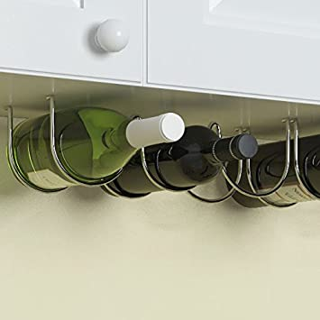 Under Cabinet Wine Rack And Liquor Bottle Holder Chrome Finish Kitchen  Countertop Organizer (3 Bottles Part 71
