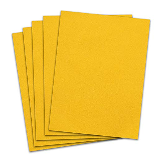 Rozzy Crafts - Yellow Flock Heat Transfer Vinyl (HTV) - Flocked - 5 Sheets Each 12 inches by 10 inches - Works with Cricut, Silhouette, and All Other Cutting Machines